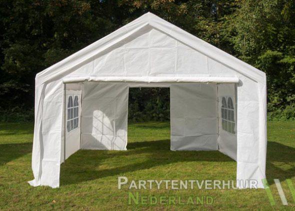 Partytent 4x4 meter voorkant met deur open huren - Partytentverhuur Amersfoort