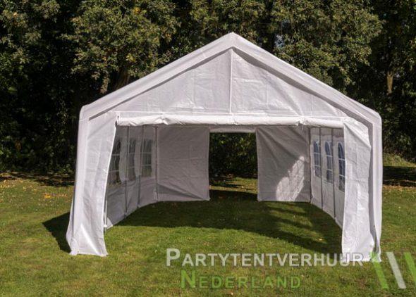 Partytent 4x8 meter voorkant met deur huren - Partytentverhuur Amersfoort