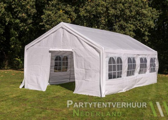 Partytent 4x8 meter voorkant schuin met deur huren - Partytentverhuur Amersfoort
